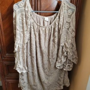 Brown Off-The-Shoulder Lace Shirtdress